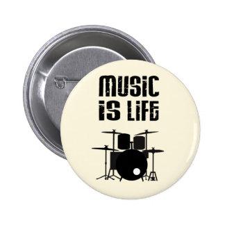 La música es vida pin redondo de 2 pulgadas