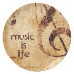 La música es vida platos para fiestas