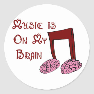 La música está en mi cerebro pegatina redonda