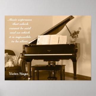 La música expresa -- Cita de Victor Hugo - Póster