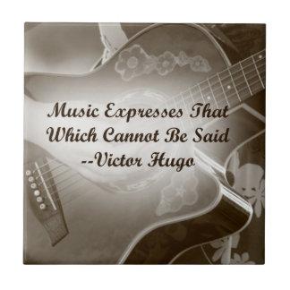 La música expresa ese decir de la foto de la guita azulejo cuadrado pequeño