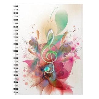 La música fresca del clef agudo de los watercolour cuaderno