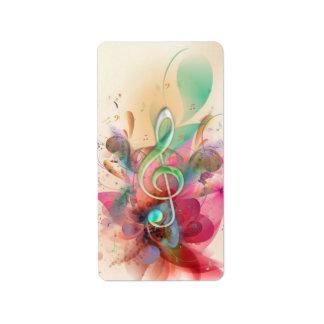 La música fresca del clef agudo de los watercolour etiqueta de dirección