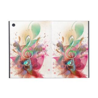 La música fresca del clef agudo de los watercolour iPad mini cobertura