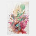 La música fresca del clef agudo de los watercolour toallas de mano