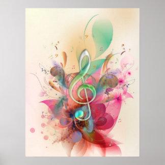 La música fresca del clef agudo de los watercolour póster