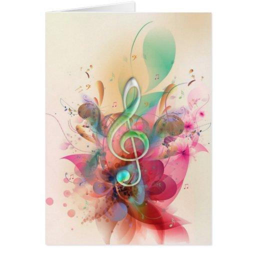 La música fresca del clef agudo de los watercolour tarjeta de felicitación