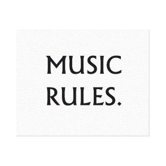 La música gobierna el texto negro lona envuelta para galerías