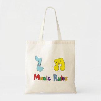 La música gobierna notas lindas de la música bolsa de mano