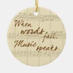 La música habla adorno navideño redondo de cerámica