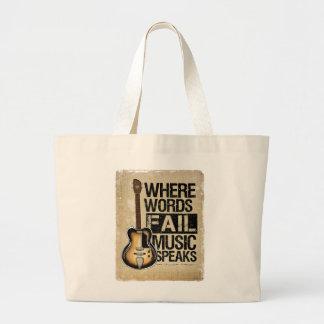 la música habla bolsa tela grande