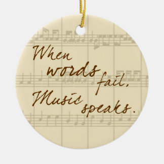 La música habla ornamento de navidad