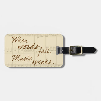 La música habla etiquetas de maletas