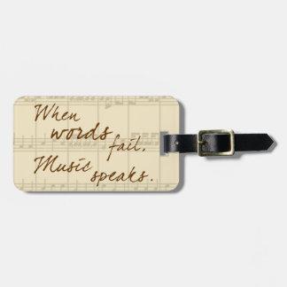 La música habla etiquetas para maletas