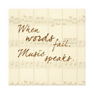 La música habla impresión en lienzo estirada