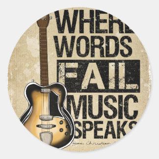 la música habla pegatina redonda