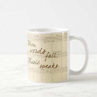 La música habla taza básica blanca