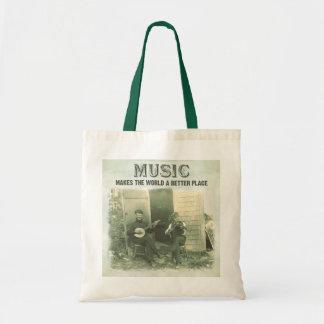 La música hace el mundo una mejor foto del vintage bolsa de mano
