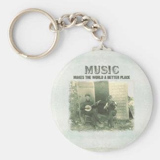 La música hace el mundo una mejor foto del vintage llavero redondo tipo pin