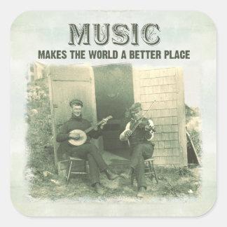 La música hace el mundo una mejor foto del vintage calcomanía cuadrada personalizada