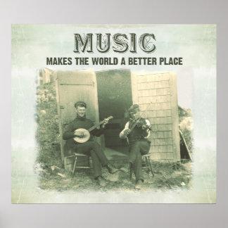 La música hace el mundo una mejor foto del vintage póster