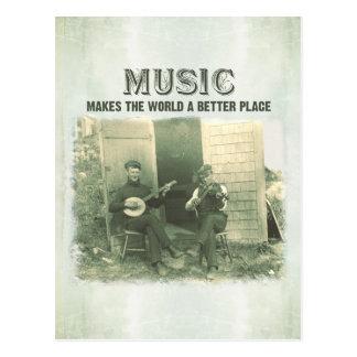 La música hace el mundo una mejor foto del vintage postal