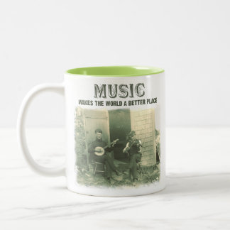 La música hace el mundo una mejor foto del vintage tazas