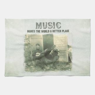 La música hace el mundo una mejor foto del vintage toallas de mano
