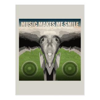 La música hace que sonríe postal