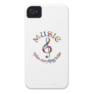 La música hace todo mejor iPhone 4 Case-Mate cárcasa