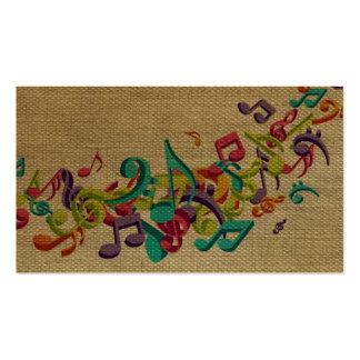La música hermosa de la textura de la arpillera tarjetas de visita