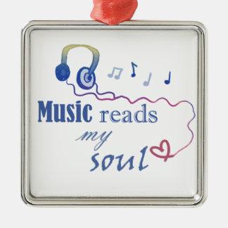 La música LEE mi alma Adorno Cuadrado Plateado