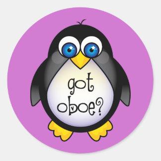La música linda del pingüino consiguió Oboe Pegatina Redonda