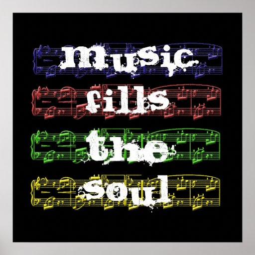 La música llena el poster del alma