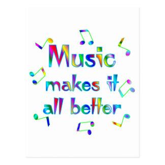 La música lo hace mejor tarjetas postales