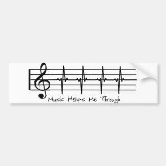 La música me ayuda a través pegatina para auto