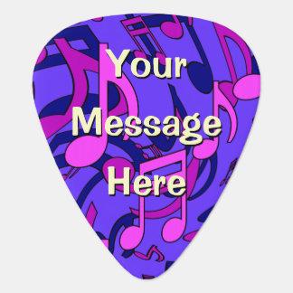La música musical rosada púrpura azul del modelo uñeta de guitarra