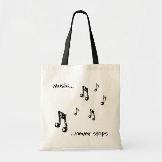 La música nunca para el tote bolsa de mano