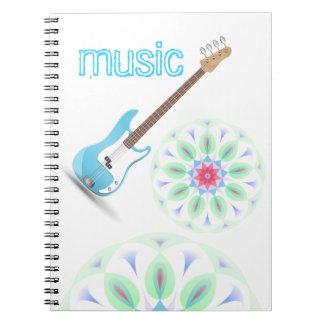 La música observa destino azul del modelo de zigza libro de apuntes con espiral