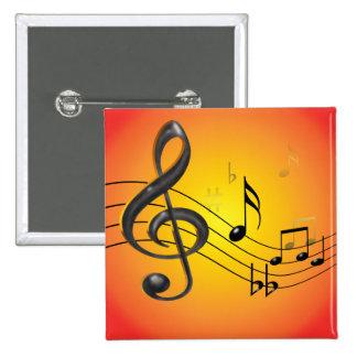 La música observa el botón pin cuadrado