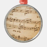 La música observa el fondo adorno de navidad