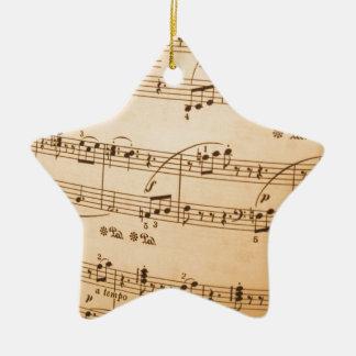 La música observa el fondo ornamento de navidad