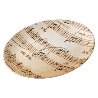 La música observa el fondo plato de cerámica