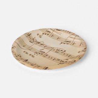 La música observa el fondo plato de papel de 7 pulgadas