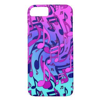 La música observa el modelo azul rosado animado funda iPhone 7