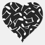 La música observa el modelo blanco y negro pegatina de corazon personalizadas