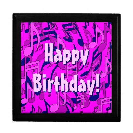 La música observa feliz cumpleaños del modelo cajas de joyas