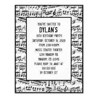 La música observa invitaciones de la fiesta de cum tarjetas informativas