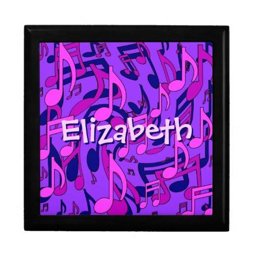 La música observa la púrpura azul rosada caja de joyas