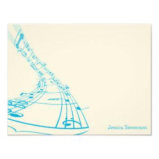 """La música observa la tarjeta de nota plana (azul) invitación 4.25"""" x 5.5"""""""